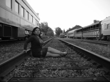 I've always wanted to be on train tracks...we don't have them in Guam